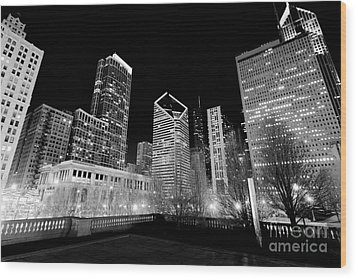 Chicago Downtown At Night  Wood Print by Paul Velgos