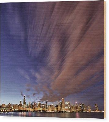 Chicago Evening 3 Wood Print by Donald Schwartz
