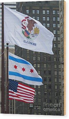 Chicago Flags Wood Print by Ann Horn