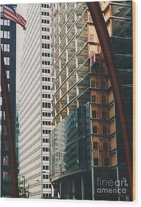 Chicago Geometry Wood Print by First Star Art