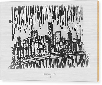 Wood Print featuring the painting Chicago Great Fire Of 1871 Serigraph Of Skyline Buildings Sears Tower Lake Michigan Hancock Bw by M Zimmerman