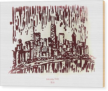 Wood Print featuring the painting Chicago Great Fire Of 1871 Serigraph Of Skyline Buildings Sears Tower Lake Michigan John Hancock  by M Zimmerman