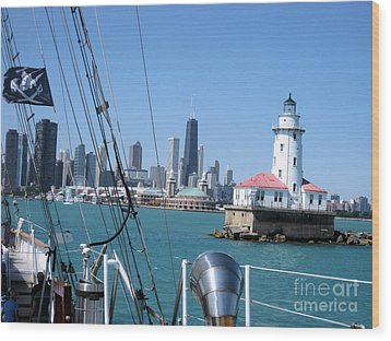 Chicago Harbor Lighthouse Wood Print by Sonia Flores Ruiz