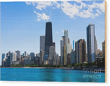 Chicago Lakefront With John Hancock Building Wood Print by Paul Velgos
