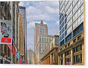 Chicago - Looking South From Lasalle Street Wood Print by Christine Till