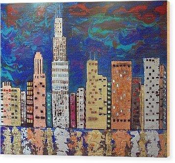 Chicago Metallic Skyline Reflections Wood Print by Char Swift