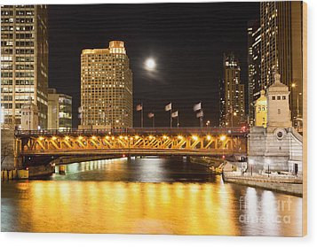 Chicago Michigan Avenue Dusable Bridge At Night Wood Print by Paul Velgos