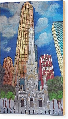 Chicago Old Water Tower Wood Print by Char Swift