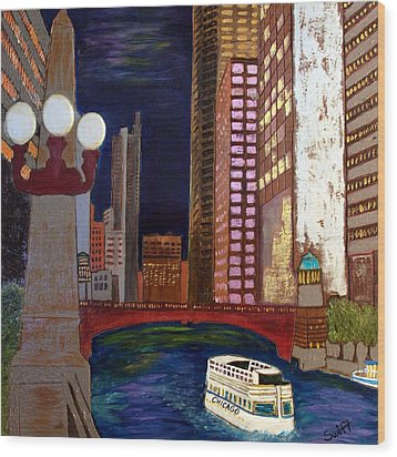 Chicago River Wood Print by Char Swift