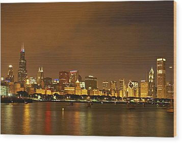 Chicago Skyline At Night Wood Print by Axiom Photographic