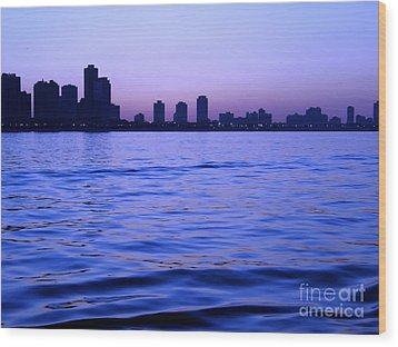 Chicago Skyline At Night Wood Print by Sophie Vigneault