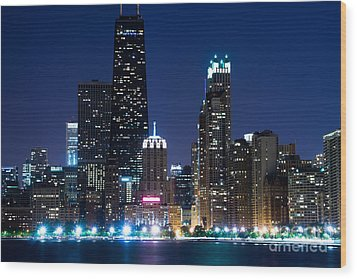 Chicago Skyline At Night With John Hancock Building Wood Print by Paul Velgos