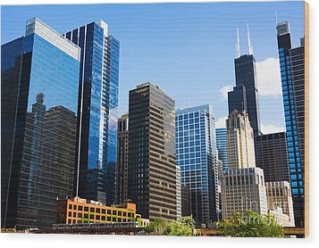 Chicago Skyline Downtown City Buildings Wood Print by Paul Velgos