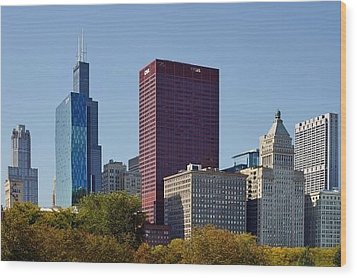 Chicago Skyline From Millenium Park Wood Print by Christine Till