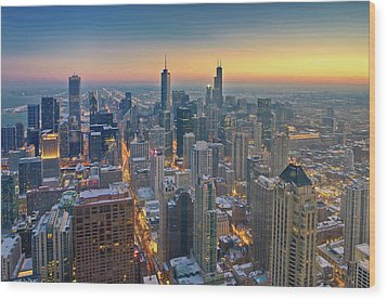 Chicago Skyline In Blue Hour Wood Print by Delobbo.com