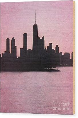 Chicago Skyline In Pink Wood Print by Sophie Vigneault