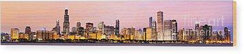 Chicago Skyline Panoramic Wood Print by Paul Velgos