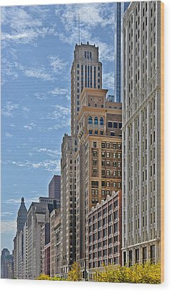 Chicago Willoughby Tower And 6 N Michigan Avenue Wood Print by Christine Till