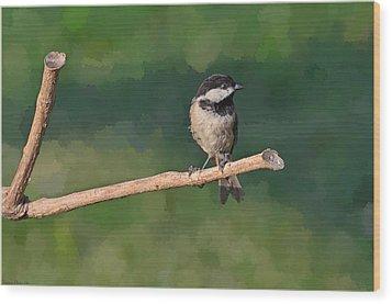 Chickadee On A Stick Wood Print by Debbie Portwood