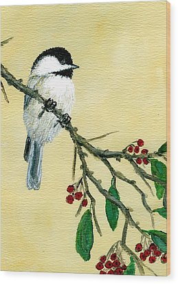 Chickadee Set 4 - Bird 1 - Red Berries Wood Print by Kathleen McDermott