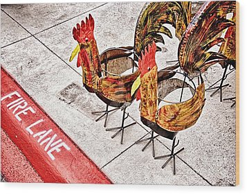 Chicken Crossing Wood Print
