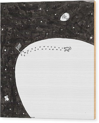 Chicken Lands On Egg Moon Wood Print