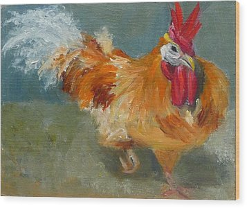 Chicken On The Run Wood Print