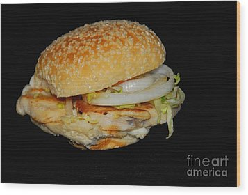 Chicken Sandwich Wood Print by Cindy Manero