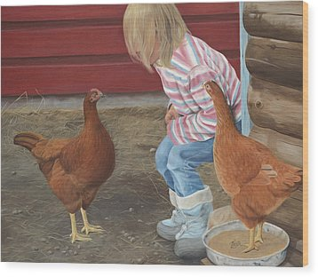 Chicken Talk Wood Print