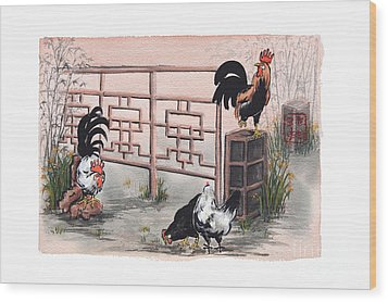 Chickens At The Gate Wood Print by Nancy Pahl