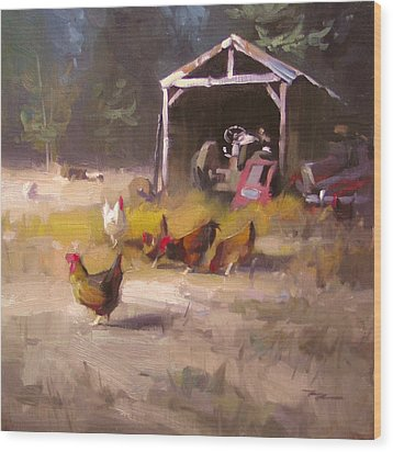 Chickens In Paradise Wood Print by Richard Robinson