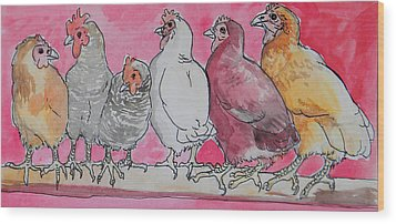 Wood Print featuring the painting Chickens by Jenn Cunningham