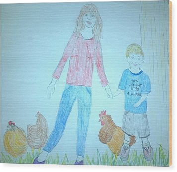 Chickens Wood Print by Julie Butterworth