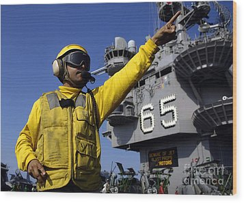 Chief Aviation Boatswains Mate Directs Wood Print by Stocktrek Images