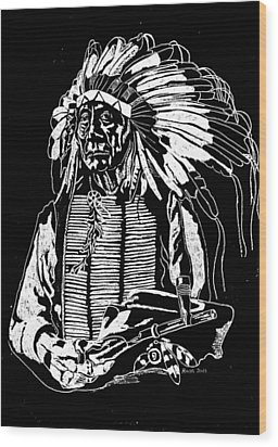 Chief Red Cloud 2 Wood Print by Jim Ross