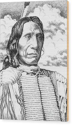 Chief-red-cloud Wood Print by Gordon Punt