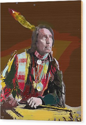 Chief Red Shirt Wood Print by Charles Shoup