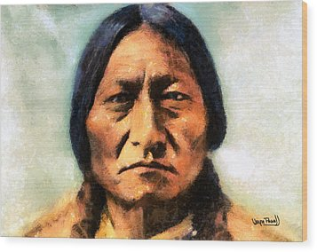 Wood Print featuring the painting Chief Sitting Bull by Wayne Pascall