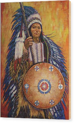 Wood Print featuring the painting Chief Two by Charles Munn