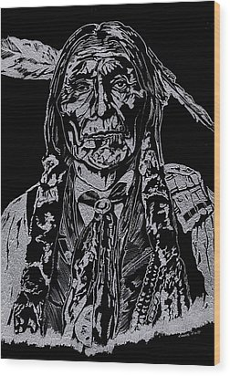 Chief Wolf Robe Wood Print by Jim Ross