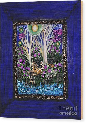 Chihuahuas On Unicorn Island Wood Print by Genevieve Esson