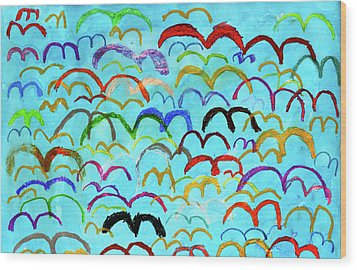 Child Drawing Of Colorful Birds In Blue Sky Wood Print by Donald Iain Smith