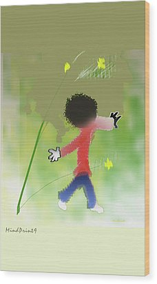 Wood Print featuring the digital art Child In Nature by Asok Mukhopadhyay