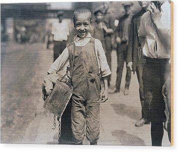 Child Labor, Bootblack Near Trinity Wood Print by Everett