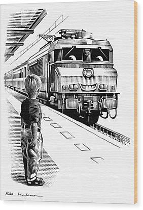 Child Train Safety, Artwork Wood Print by Bill Sanderson