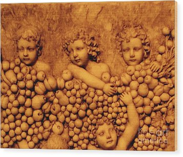 Children Among The Grapes Wood Print by Annie Zeno