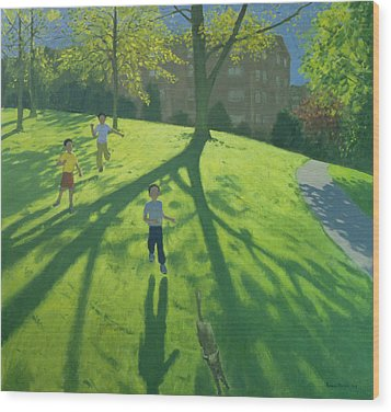 Children Running In The Park Wood Print by Andrew Macara