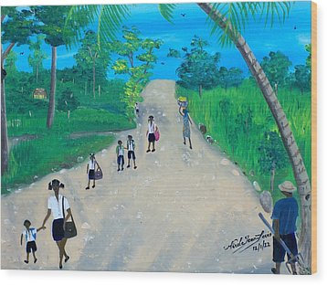 Children Walking To School Wood Print by Nicole Jean-Louis