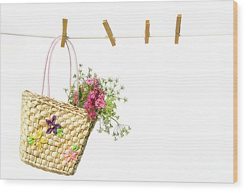 Child's Straw Purse With Flowers Wood Print by Sandra Cunningham