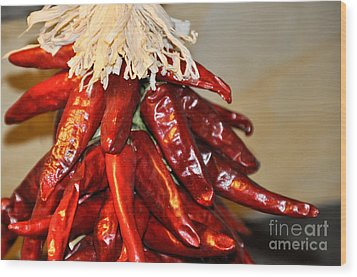 Wood Print featuring the photograph Chili Peppers by Cheryl McClure
